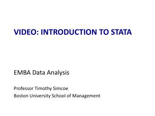 VIDEO:  introduction  to STATA