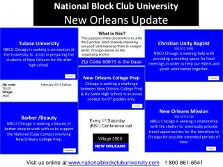 National Block Club University New Orleans Update