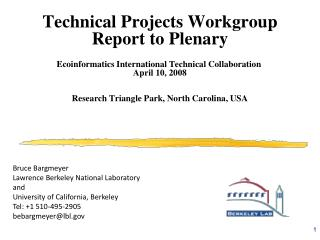 Technical Projects Workgroup Report to Plenary