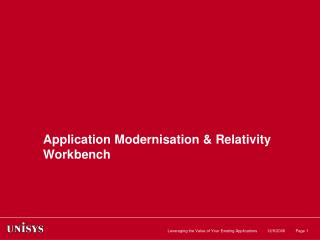 Application Modernisation & Relativity Workbench