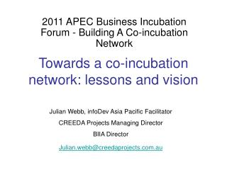 Towards a co-incubation network: lessons and vision