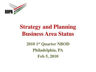 Strategy and Planning Business Area Status