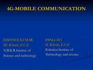 4G-MOBILE COMMUNICATION