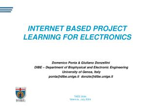 INTERNET BASED PROJECT LEARNING FOR ELECTRONICS