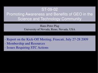 ST-09-02   Promoting Awareness and Benefits of GEO in the Science and Technology Community