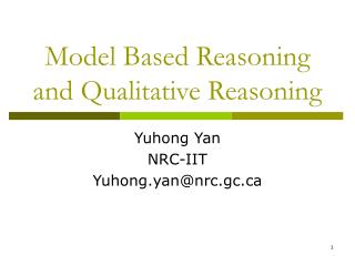 Model Based Reasoning and Qualitative Reasoning