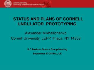 STATUS AND PLANS OF CORNELL UNDULATOR  PROTOTYPING