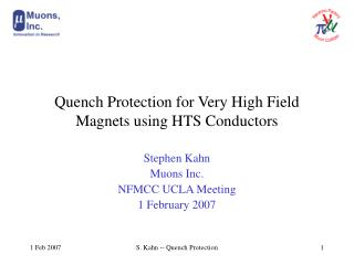 Quench Protection for Very High Field Magnets using HTS Conductors