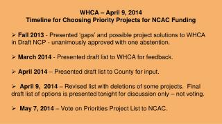 WHCA – April 9, 2014 Timeline for Choosing Priority Projects for NCAC Funding