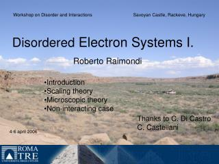 Disordered Electron Systems I.