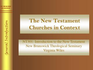 The New Testament Churches in Context