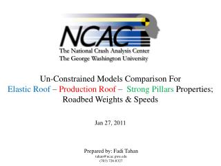 Un-Constrained Models Comparison For