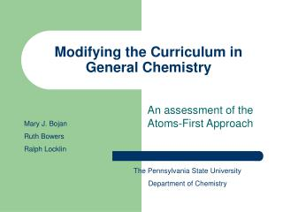 Modifying the Curriculum in General Chemistry