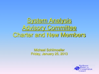 System Analysis Advisory Committee Charter and New Members