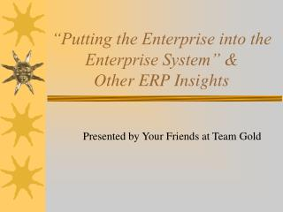 """Putting the Enterprise into the Enterprise System"" & Other ERP Insights"