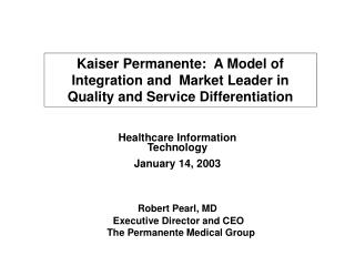 Healthcare Information Technology  January 14, 2003