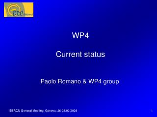 WP4 Current status