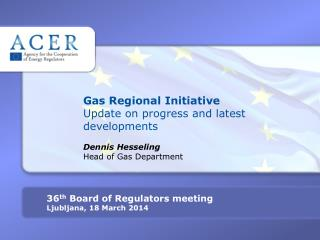 Gas Regional Initiative Update on progress and latest developments Dennis Hesseling