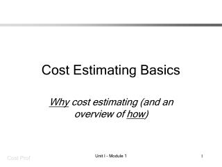 Cost Estimating Basics