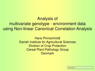 Analysis of  multivariate genotype - environment data