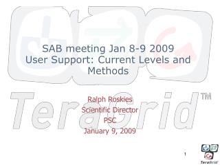 SAB meeting Jan 8-9 2009 User Support: Current Levels and Methods