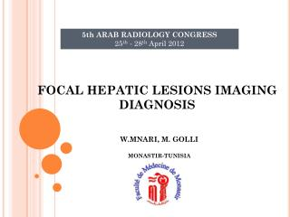 FOCAL HEPATIC LESIONS IMAGING DIAGNOSIS