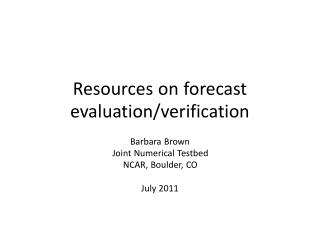 Resources on forecast evaluation/verification
