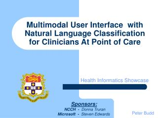 Multimodal User Interface  with Natural Language Classification  for Clinicians At Point of Care