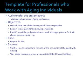 Template for Professionals who Work with Aging Individuals