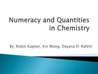 Numeracy and Quantities in Chemistry