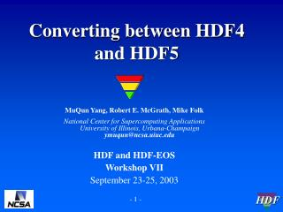 Converting between HDF4 and HDF5