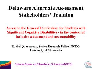 Delaware Alternate Assessment Stakeholders' Training