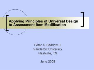 Applying Principles of Universal Design to Assessment Item Modification