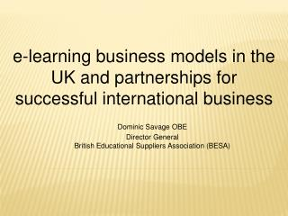 e-learning business models in the UK and partnerships for successful international business