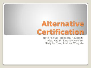 Alternative Certification