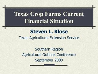 Texas Crop Farms Current Financial Situation