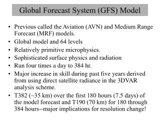 Global Forecast System (GFS) Model