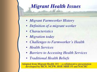 Migrant Health Issues