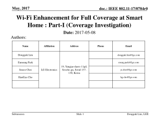 Wi-Fi Enhancement for Full Coverage at Smart Home : Part-I (Coverage Investigation)