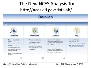 The New NCES Analysis Tool