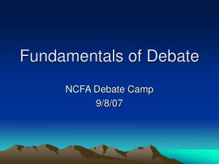 Fundamentals of Debate