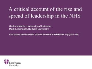 A critical account of the rise and spread of leadership in the NHS