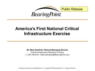 America's First National Critical Infrastructure Exercise