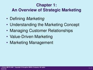 Chapter 1: An Overview of Strategic Marketing