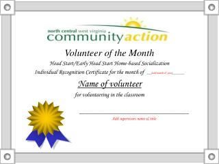 Volunteer of the Month Head Start/Early Head Start Home-based Socialization