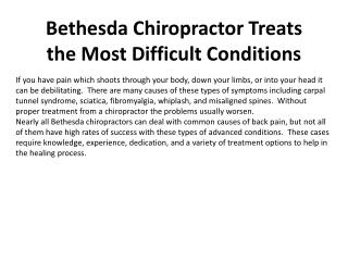 Bethesda Chiropractor Treats the Most Difficult Conditions