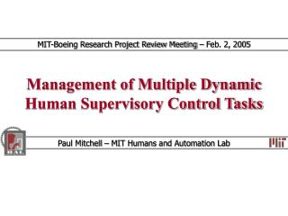 Management of Multiple Dynamic Human Supervisory Control Tasks