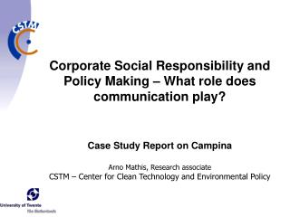Case Study Report on Campina Arno Mathis, Research associate