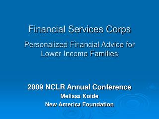 Financial Services Corps Personalized Financial Advice for  Lower Income Families