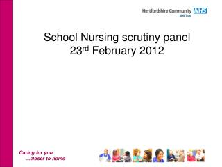 School Nursing scrutiny panel  23 rd  February 2012